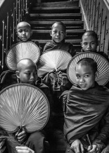 a group of child monk in a bouddist temple in Myanmar