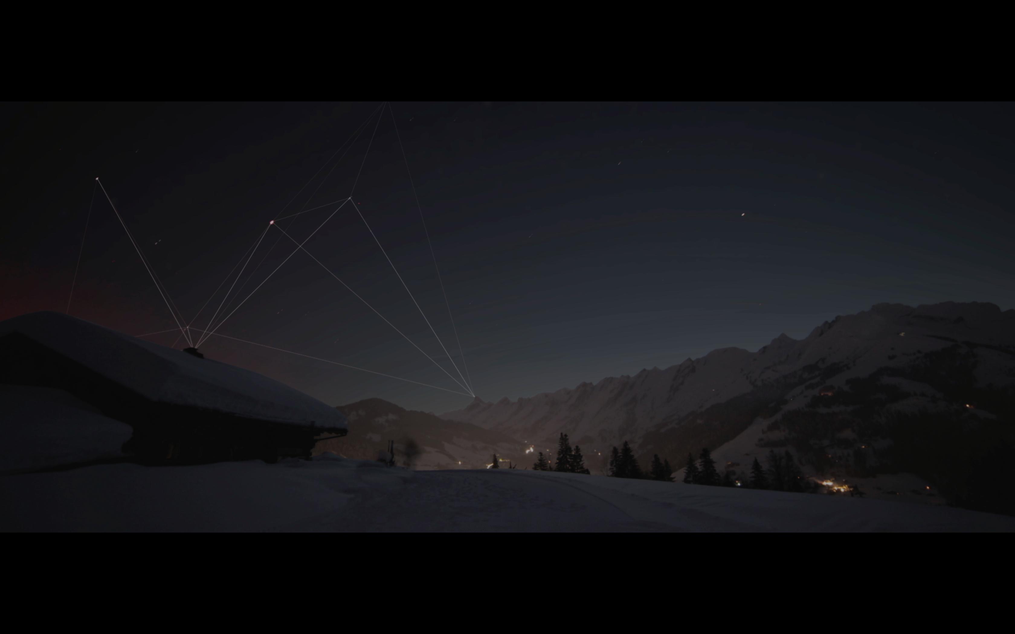 graphisme plexus dans video timelapse montage la clusaz
