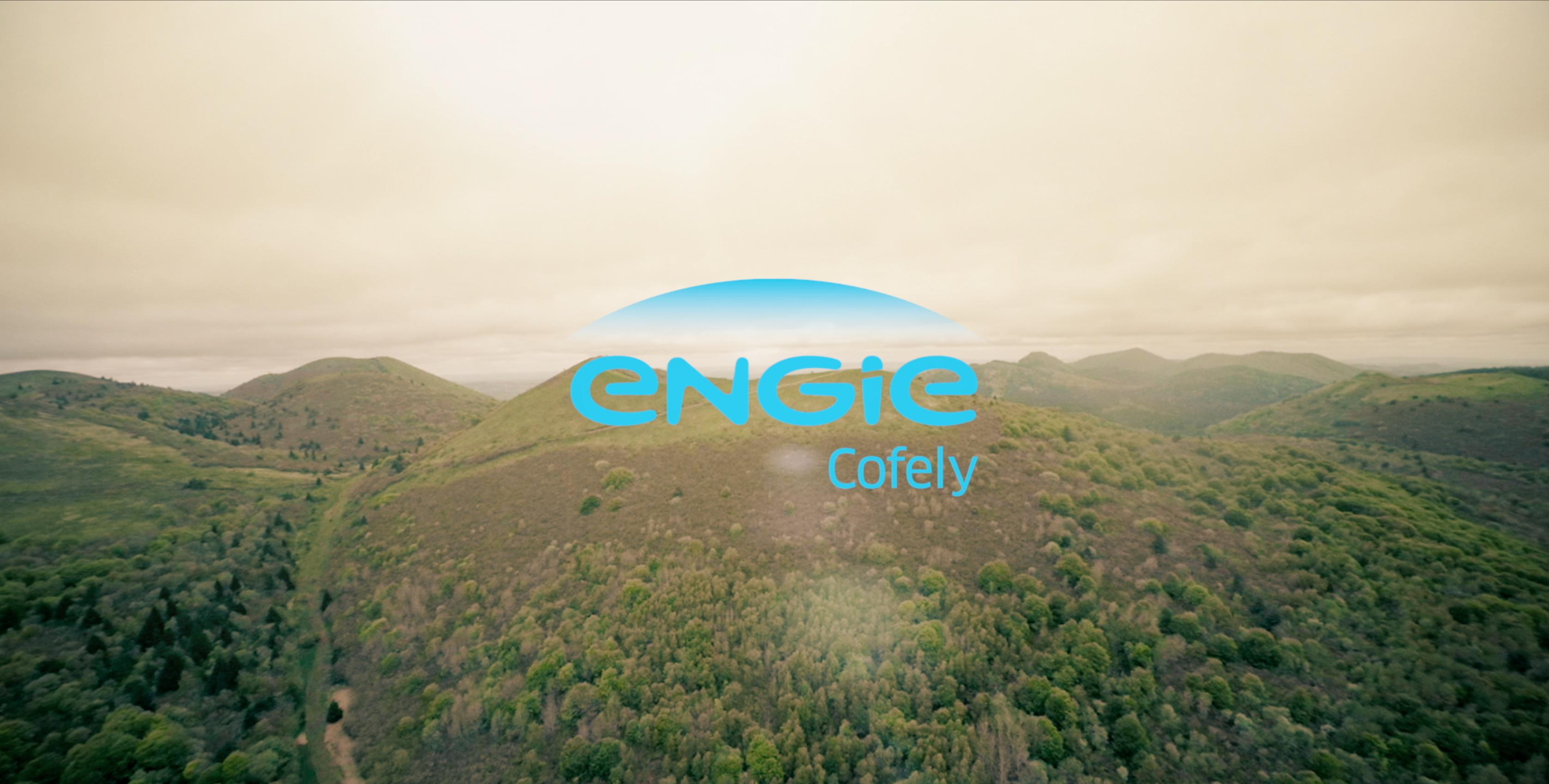 logo engie sur plan video au drone sur volcan